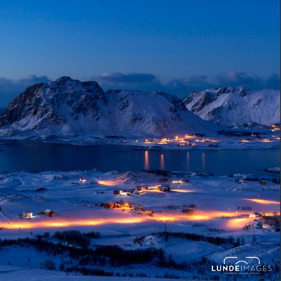 Nattbilde av Vesterålen Bø